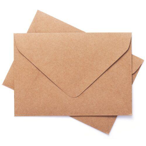 cardboard postal envelope isolated on white